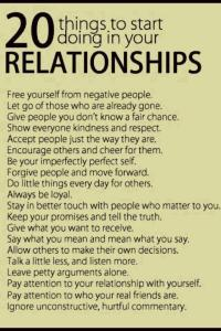 This graphic suggests 20 ways to create loving, healthy relationships